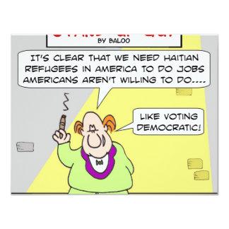 """votación haitiana de los refugiados democrática invitación 4.25"""" x 5.5"""""""