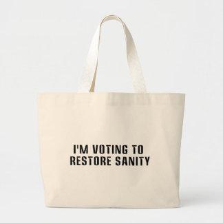 Votación para restaurar a la pegatina para el bolsa tela grande