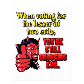 Votación por menos de dos males tarjetas postales