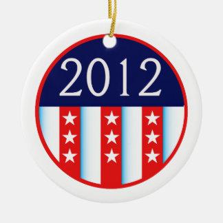 votación roja y azul del sello 2012 de la elección adorno navideño redondo de cerámica