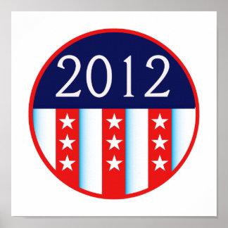 votación roja y azul del sello 2012 de la elección póster