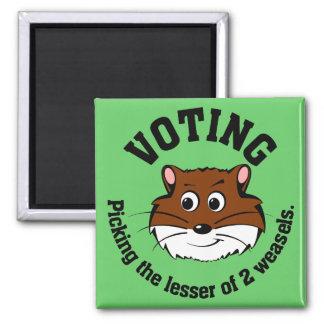 Votación - selección menos de dos males imán cuadrado