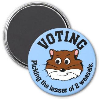 Votación - selección menos de dos males imán redondo 7 cm