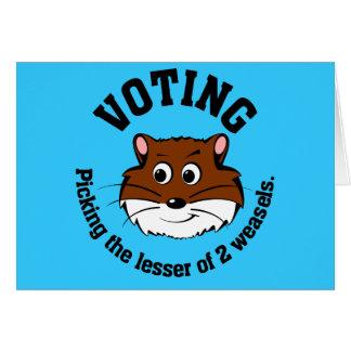 Votación - selección menos de dos males tarjeta de felicitación