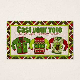 Votaciones de votación del suéter feo del navidad tarjeta de negocios