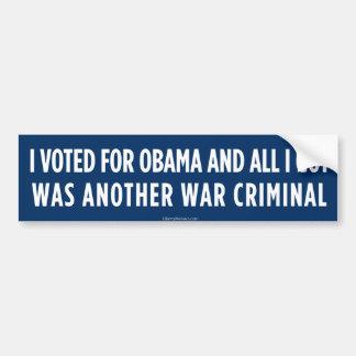 Votado por Obama consiguió a un criminal de guerra Pegatina De Parachoque