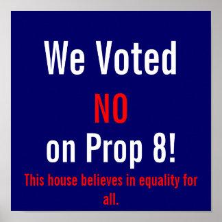 ¡Votamos no el apoyo 8! muestra de la ventana/de l Póster