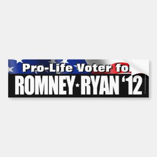 Votante antiabortista para Romney/pegatina para el Pegatina De Parachoque