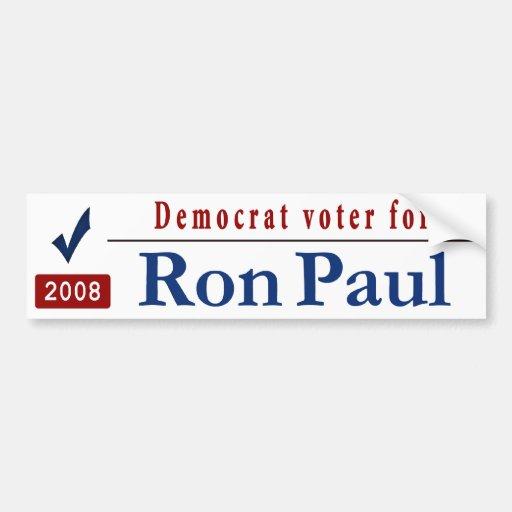 Votante de Demócrata para Ron Paul Pegatina De Parachoque