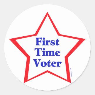 Votante de la primera vez pegatina redonda