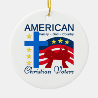 Votantes cristianos americanos adorno redondo de cerámica