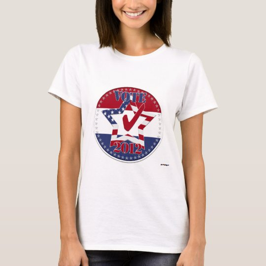 VOTE 2012 Star, US Flag, Red Check, 50 Stars round T-Shirt