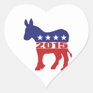 Vote 2015 Democratic Party Heart Sticker