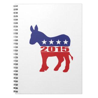 Vote 2015 Democratic Party Spiral Notebook