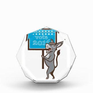 Vote 2016 Democrat Donkey Mascot Cartoon Acrylic Award