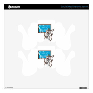 Vote 2016 Democrat Donkey Mascot Cartoon Decal For PS3 Controller