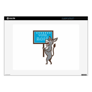 "Vote 2016 Democrat Donkey Mascot Cartoon Decals For 15"" Laptops"