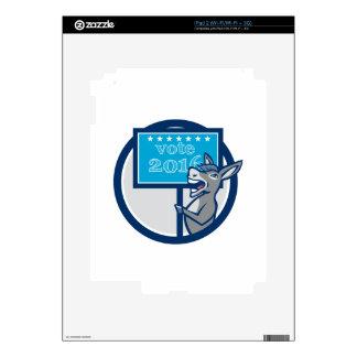 Vote 2016 Democrat Donkey Mascot Cartoon iPad 2 Skins