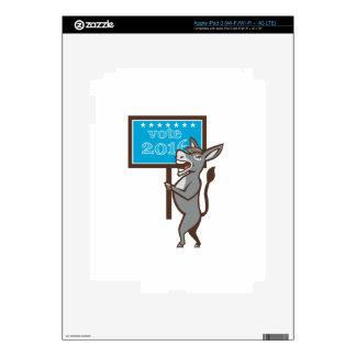 Vote 2016 Democrat Donkey Mascot Cartoon iPad 3 Decal