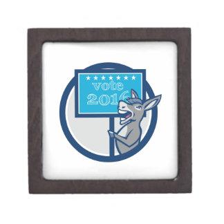 Vote 2016 Democrat Donkey Mascot Cartoon Jewelry Box