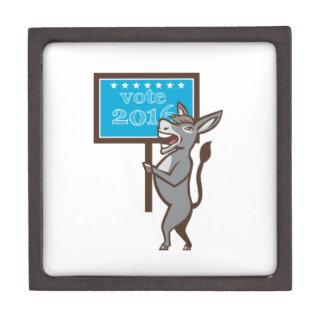 Vote 2016 Democrat Donkey Mascot Cartoon Keepsake Box