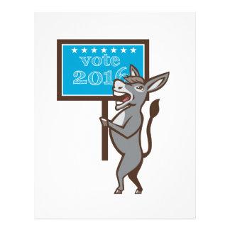 Vote 2016 Democrat Donkey Mascot Cartoon Letterhead