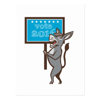 Vote 2016 Democrat Donkey Mascot Cartoon Postcard