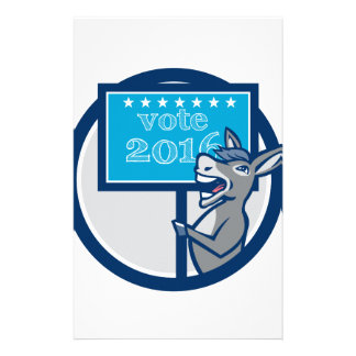 Vote 2016 Democrat Donkey Mascot Cartoon Stationery