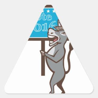 Vote 2016 Democrat Donkey Mascot Cartoon Triangle Sticker