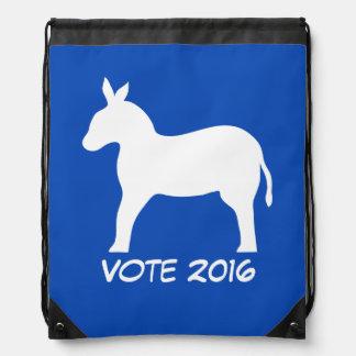 Vote 2016 Election Democrat Blue Donkey Custom Drawstring Backpack