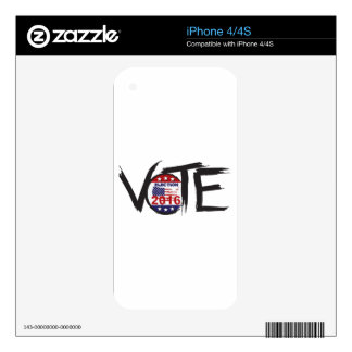 Vote 2016 Election Ink Brush Illustration Decal For iPhone 4