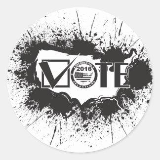 Vote 2016 USA Map Ink Splatter Outline Illustratio Classic Round Sticker