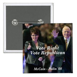 Vote a la derecha, republicano del voto, McCain -… Pin