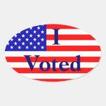 Voté a los pegatinas de la elección de la bandera colcomanias de oval