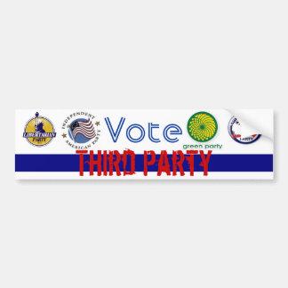 Vote a los terceros pegatina de parachoque