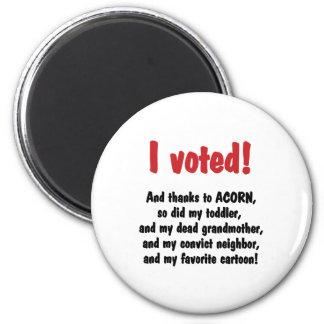 Voté agradezco la bellota iman de frigorífico