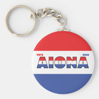 Vote Aiona 2010 Elections Red White and Blue Keychain