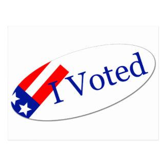 Voté al pegatina tarjetas postales