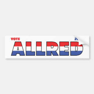 Vote Allred 2010 Elections Red White and Blue Bumper Sticker