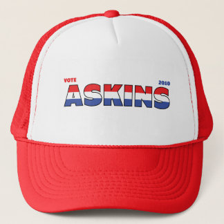 Vote Askins 2010 Elections Red White and Blue Trucker Hat