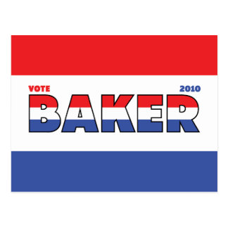 Vote Baker 2010 Elections Red White and Blue Postcard