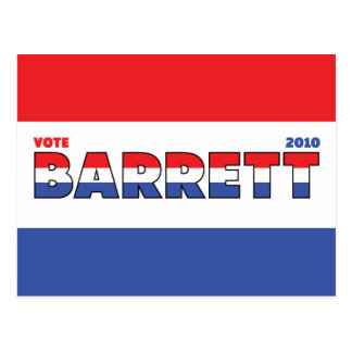 Vote Barrett 2010 Elections Red White and Blue Postcard