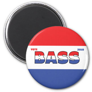 Vote Bass 2010 Elections Red White and Blue 2 Inch Round Magnet