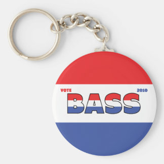 Vote Bass 2010 Elections Red White and Blue Basic Round Button Keychain