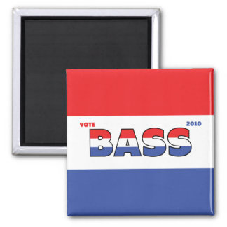 Vote Bass 2010 Elections Red White and Blue 2 Inch Square Magnet