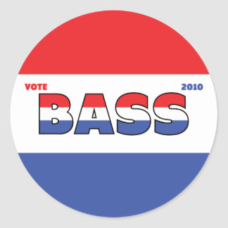 Vote Bass 2010 Elections Red White and Blue Classic Round Sticker