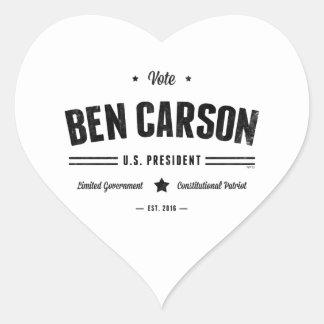 Vote Ben Carson 2016 Heart Sticker