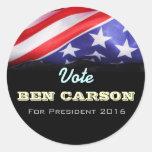 Vote Ben Carson President 2016 Campaign Stickers Round Stickers