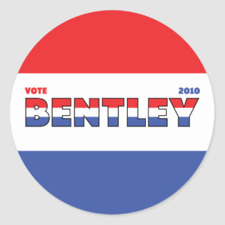 Vote Bentley 2010 Elections Red White and Blue Classic Round Sticker