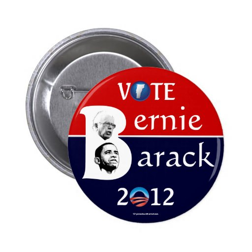 Vote Bernie Sanders and Barack Obama in 2012 polit Pinback Buttons